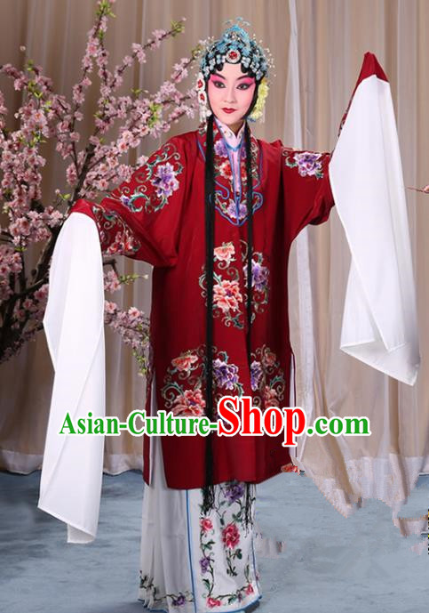Top Grade Professional Beijing Opera Palace Lady Costume Hua Tan Amaranth Embroidered Cape, Traditional Ancient Chinese Peking Opera Diva Embroidery Clothing