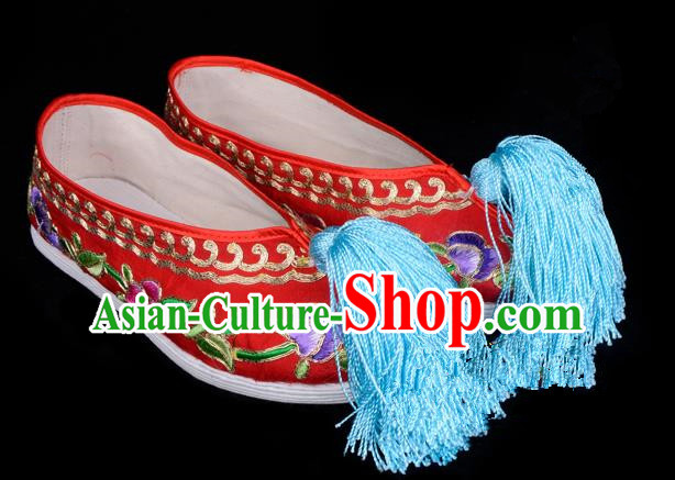 Top Grade Professional Beijing Opera Hua Tan Embroidered Red Cloth Shoes, Traditional Ancient Chinese Peking Opera Diva Princess Blood Stained Shoes