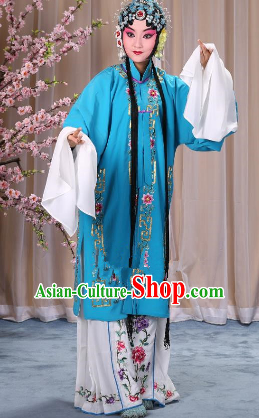 Top Grade Professional Beijing Opera Diva Costume Palace Lady Blue Embroidered Cape, Traditional Ancient Chinese Peking Opera Princess Embroidery Dress Clothing
