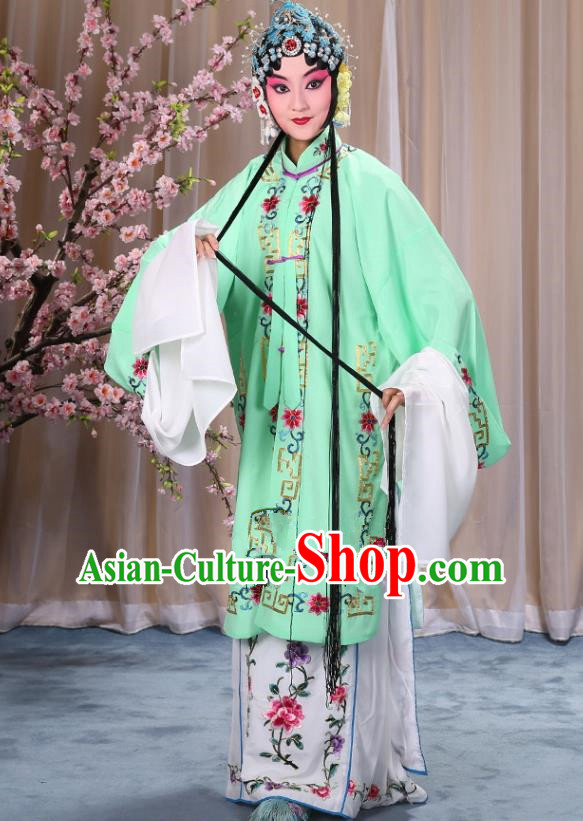 Top Grade Professional Beijing Opera Diva Costume Palace Lady Green Embroidered Cape, Traditional Ancient Chinese Peking Opera Princess Embroidery Dress Clothing