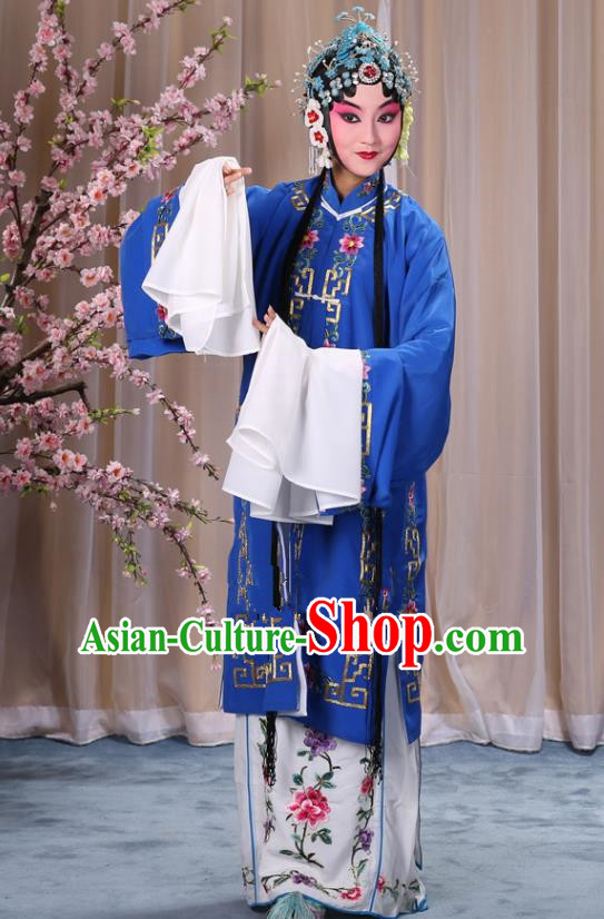 Top Grade Professional Beijing Opera Diva Costume Palace Lady Deep Blue Embroidered Cape, Traditional Ancient Chinese Peking Opera Princess Embroidery Dress Clothing