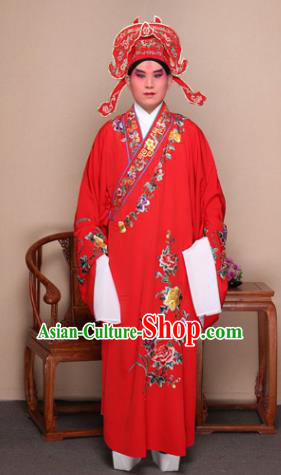 Top Grade Professional Beijing Opera Niche Costume Gifted Scholar Red Embroidered Robe and Shoes, Traditional Ancient Chinese Peking Opera Embroidery Peony Clothing