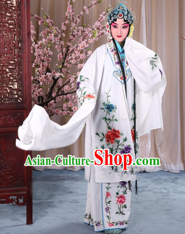 Top Grade Professional Beijing Opera Imperial Consort Costume Hua Tan White Embroidered Cape, Traditional Ancient Chinese Peking Opera Diva Embroidery Peony Clothing