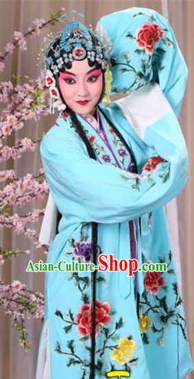 Top Grade Professional Beijing Opera Imperial Consort Costume Hua Tan Light Blue Embroidered Cape, Traditional Ancient Chinese Peking Opera Diva Embroidery Peony Clothing