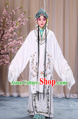 Top Grade Professional Beijing Opera Costume Hua Tan Lilac Embroidered Wintersweet Cape, Traditional Ancient Chinese Peking Opera Diva Embroidery Dress Clothing