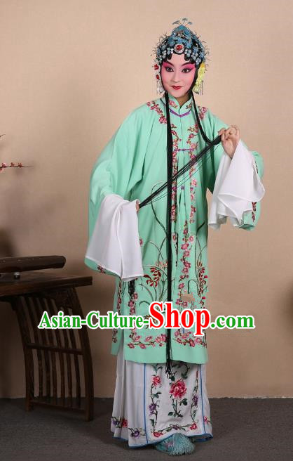 Top Grade Professional Beijing Opera Costume Hua Tan Green Embroidered Orchid Cape, Traditional Ancient Chinese Peking Opera Diva Embroidery Dress Clothing