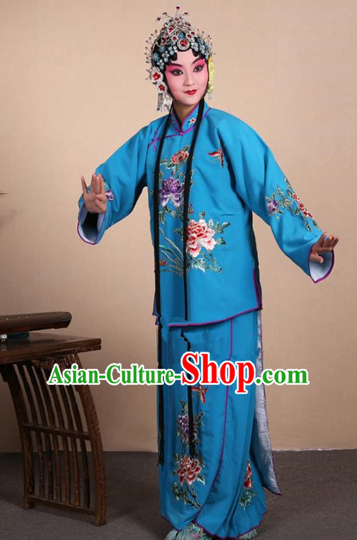 Top Grade Professional Beijing Opera Jordan-Sitting Costume Hua Tan Deep Blue Embroidered Dress, Traditional Ancient Chinese Peking Opera Maidservants Embroidery Clothing