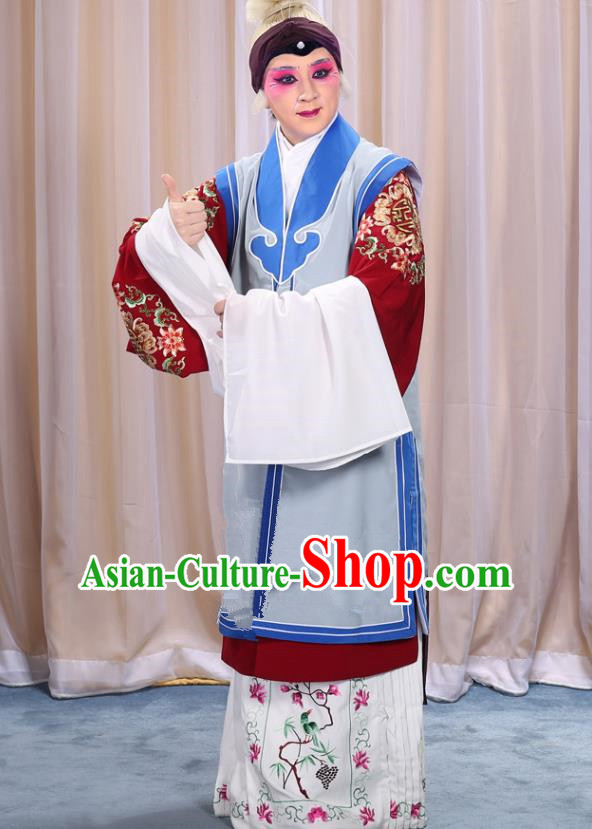 Top Grade Professional Beijing Opera Old Women Costume Long Waistcoat, Traditional Ancient Chinese Peking Opera Pantaloon Clothing
