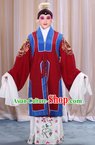 Top Grade Professional Beijing Opera Old Women Costume Long Red Waistcoat, Traditional Ancient Chinese Peking Opera Pantaloon Landlord Shiva Clothing