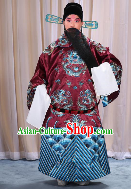 Top Grade Professional Beijing Opera Emperor Costume Amaranth Embroidered Robe and Shoes, Traditional Ancient Chinese Peking Opera Royal Highness Gwanbok Clothing