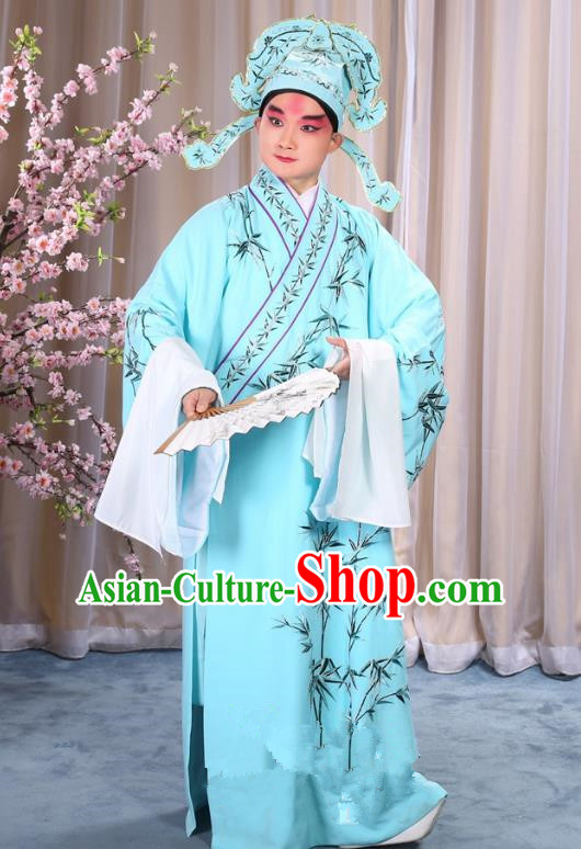 China Beijing Opera Niche Costume Gifted Scholar Embroidered Bamboo Blue Robe and Headwear, Traditional Ancient Chinese Peking Opera Embroidery Clothing