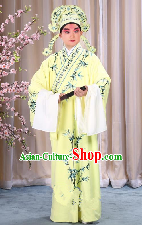 China Beijing Opera Niche Costume Gifted Scholar Embroidered Bamboo Yellow Robe and Headwear, Traditional Ancient Chinese Peking Opera Embroidery Clothing