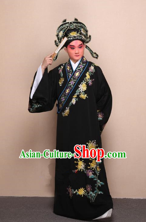 Top Grade Professional Beijing Opera Niche Costume Gifted Scholar Black Embroidered Chrysanthemum Robe, Traditional Ancient Chinese Peking Opera Embroidery Clothing