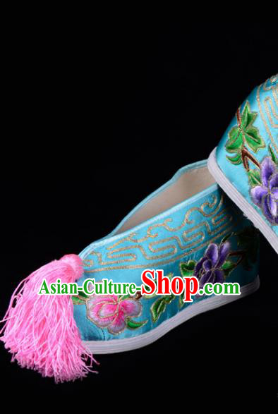 Top Grade Professional Beijing Opera Hua Tan Embroidered Peony Hidden Elevator Light Blue Satin Shoes, Traditional Ancient Chinese Peking Opera Diva Princess Blood Stained Shoes