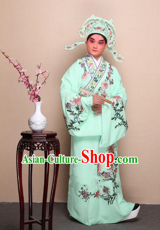 Top Grade Professional Beijing Opera Niche Costume Gifted Scholar Green Embroidered Chrysanthemum Robe, Traditional Ancient Chinese Peking Opera Embroidery Clothing