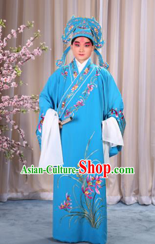 China Beijing Opera Niche Costume Young Men Blue Embroidered Robe and Shoes, Traditional Ancient Chinese Peking Opera Scholar Embroidery Orchid Gwanbok Clothing