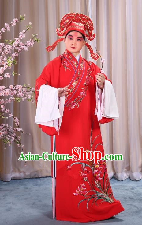 China Beijing Opera Niche Costume Young Men Red Embroidered Robe and Shoes, Traditional Ancient Chinese Peking Opera Scholar Embroidery Orchid Gwanbok Clothing