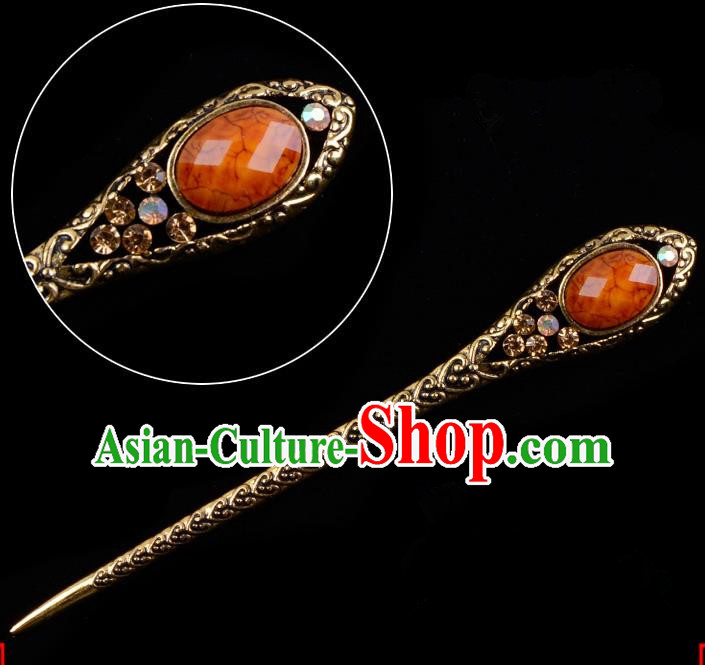 Traditional China Beijing Opera Pantaloon Hair Accessories Orange Hairpin, Ancient Chinese Peking Opera Old Women Hairpins Kanzashi Headwear