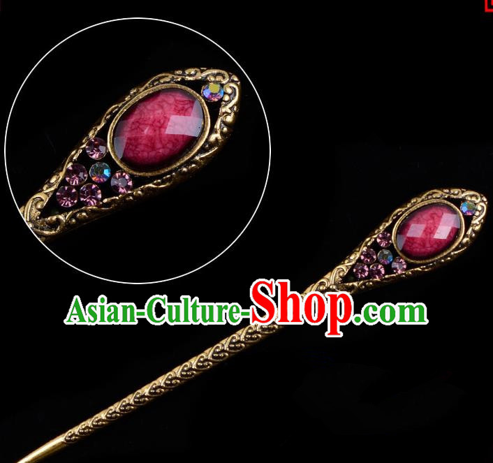 Traditional China Beijing Opera Pantaloon Hair Accessories Purple Hairpin, Ancient Chinese Peking Opera Old Women Hairpins Kanzashi Headwear
