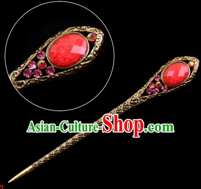 Traditional China Beijing Opera Pantaloon Hair Accessories Red Hairpin, Ancient Chinese Peking Opera Old Women Hairpins Kanzashi Headwear