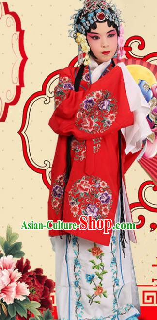 Top Grade Professional China Beijing Opera Costume Embroidered Red Cape, Ancient Chinese Peking Opera Diva Hua Tan Embroidery Clothing for Kids