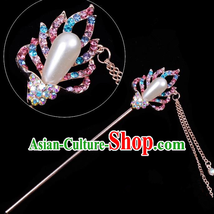 Traditional China Beijing Opera Hua Tan Hair Accessories Colorful Crystal Pearls Hairpin, Ancient Chinese Peking Opera Tassel Step Shake Women Hairpins Diva Temple Kanzashi Headwear