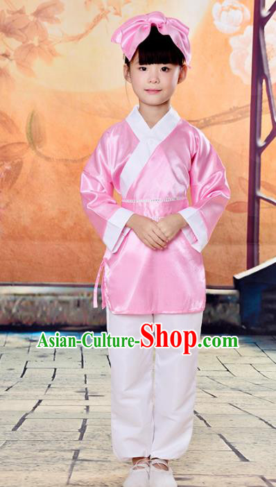 Traditional Chinese Classical Gukhak Costume, China Ancient Folk Dance Scholar Pink Clothing for Kids