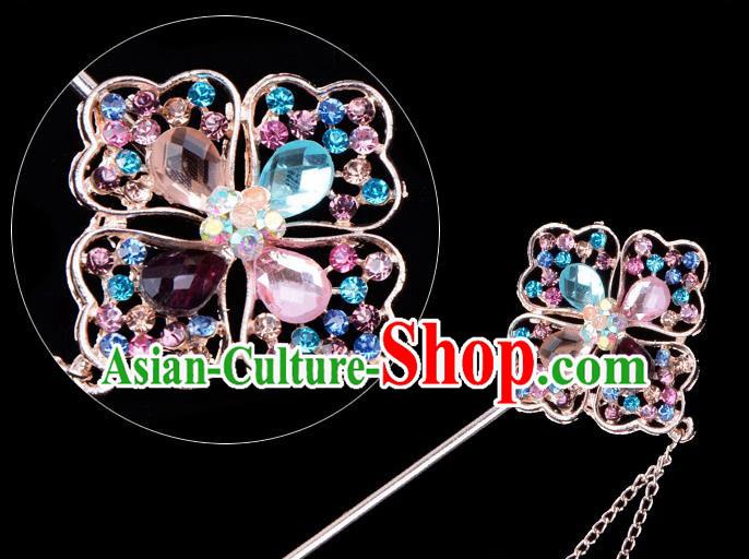 Traditional China Beijing Opera Palace Lady Hair Accessories Colorful Crystal Hairpin, Ancient Chinese Peking Opera Tassel Step Shake Women Hairpins Diva Kanzashi Headwear