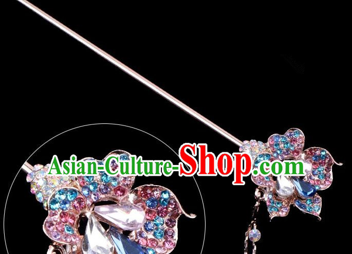 Traditional China Beijing Opera Palace Lady Hair Accessories Colorful Crystal Flower Hairpin, Ancient Chinese Peking Opera Tassel Step Shake Women Hairpins Diva Kanzashi Headwear
