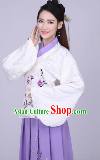 Traditional Ancient Chinese Ming Dynasty Imperial Princess Costume White Blouse and Purple Skirt, Elegant Hanfu Chinese Ancient Young Lady Embroidered Peach Blossom Clothing for Women