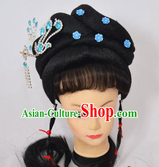 Traditional Handmade Chinese Classical Peking Opera Young Lady Wigs and Blue Crystal Hair Accessories, China Beijing Opera Princess Phoenix Hairpin Hair Headgear