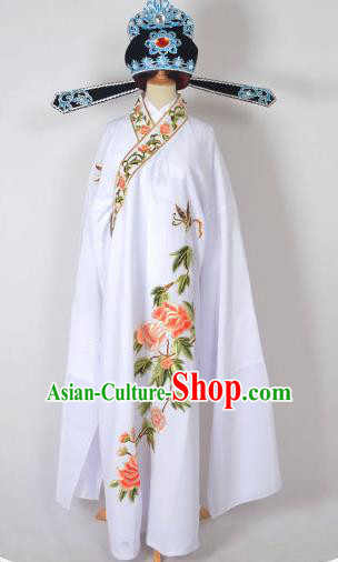 Traditional Chinese Professional Peking Opera Young Men Share-Win Costume and Hat Complete Set, China Beijing Opera Lang Scholar Embroidery Peony White Long Robe Clothing