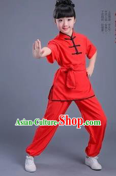 Traditional Chinese Classical Dance Martial Arts Costume, Children Folk Dance Drum Dance Uniform Kung Fu Red Clothing for Kids