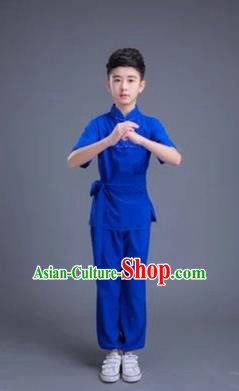 Traditional Chinese Classical Dance Martial Arts Costume, Children Folk Dance Drum Dance Uniform Kung Fu Blue Clothing for Kids