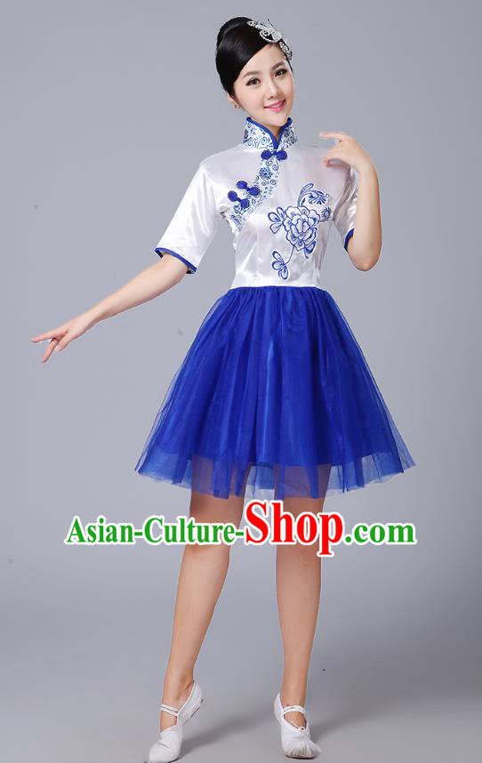 Traditional Chinese Classical Dance Cheongsam Costume, China Folk Dance Blue Veil Dress for Women