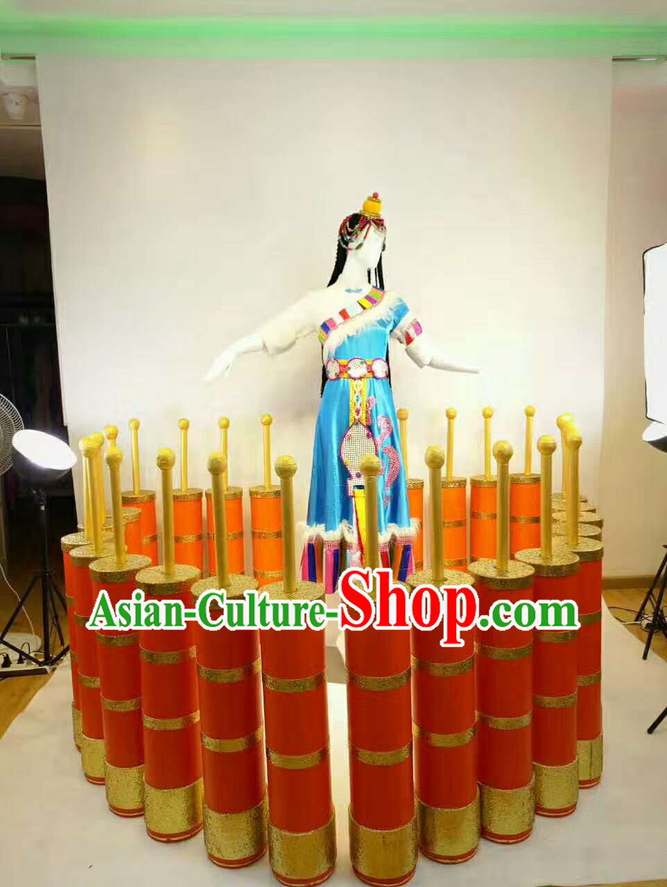 Professional Stage Performance Costumes Made to Order Custom Tailored Tibetan Dance Costume and Classical Headpieces Hair Accessories