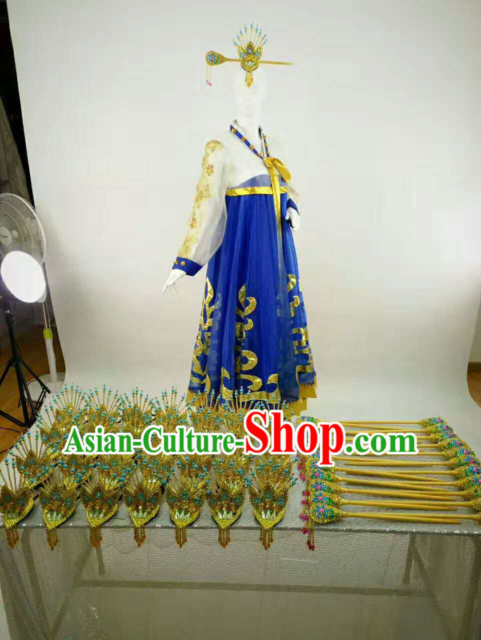 Professional Stage Performance Costumes Made to Order Custom Tailored Korean Dance Costume and Classical Headpieces Hair Accessories