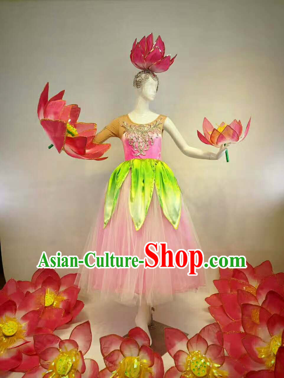 Professional Stage Performance Costume Made to Order Custom Tailored Costumes Flower Classical Costumes and Headpieces Complete Set