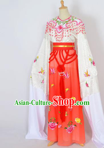 Traditional Chinese Professional Peking Opera Shaoxing Opera Embroidery Costume, China Beijing Opera Female Diva Clothing Zhu Yingtai Red Long Robe Dress