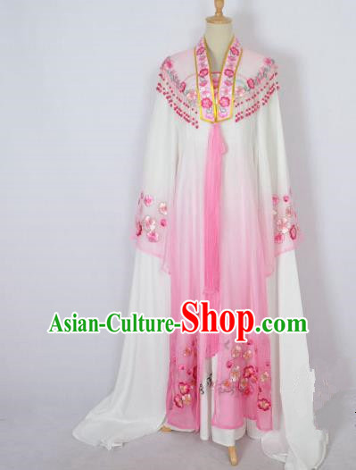 Traditional Chinese Professional Peking Opera Shaoxing Opera Costume Embroidery Pink Mantel, China Beijing Opera Female Diva Clothing Long Shawl Dress