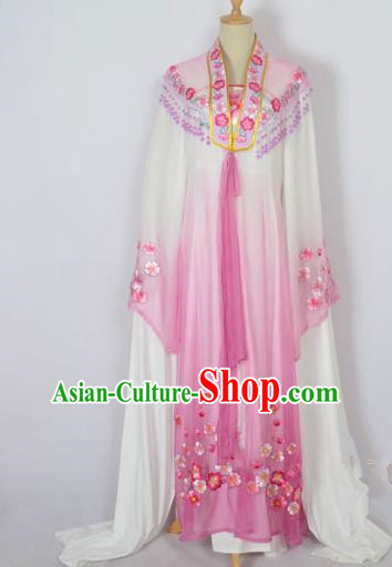 Traditional Chinese Professional Peking Opera Shaoxing Opera Costume Embroidery Purple Mantel, China Beijing Opera Female Diva Clothing Long Shawl Dress