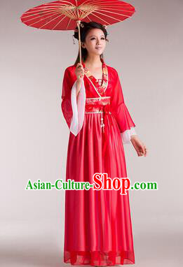 Traditional Chinese Classical Ancient Fairy Costume, China Tang Dynasty Princess Red Dress for Women