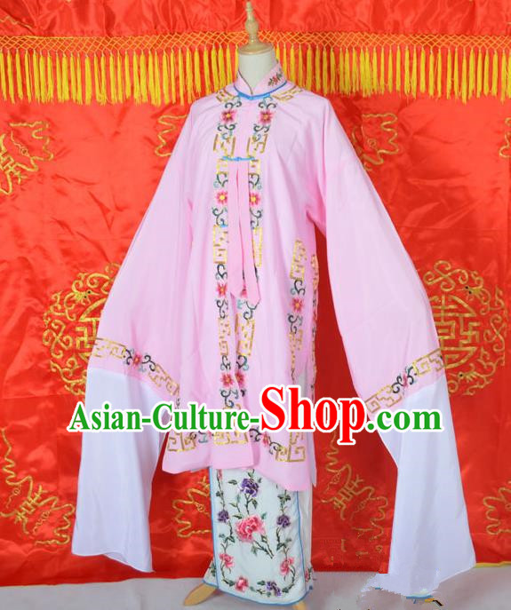Traditional Chinese Professional Peking Opera Young Lady Costume Embroidered Mentle, China Beijing Opera Imperial Concubine Pink Ceremonial Robe Clothing