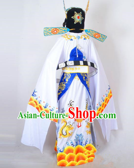 Traditional Chinese Professional Peking Opera Costume Embroidered Robe, China Beijing Opera Shaoxing Opera Gwanbok Clothing and Headwear Complete Set
