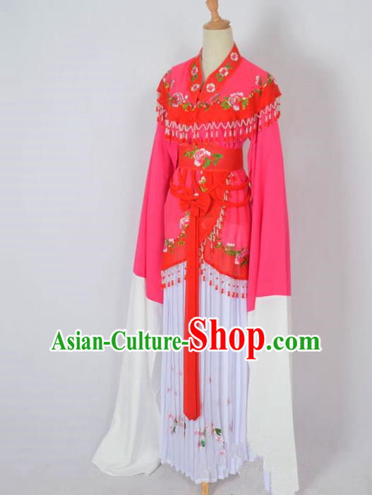 Traditional Chinese Professional Peking Opera Young Lady Costume Water Sleeve Embroidered Dress, China Beijing Opera Diva Hua Tan Red Ceremonial Clothing