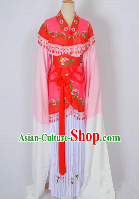Traditional Chinese Professional Peking Opera Young Lady Costume Water Sleeve Embroidered Dress, China Beijing Opera Diva Hua Tan Pink Ceremonial Clothing
