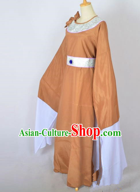 Traditional Chinese Professional Peking Opera Shaoxing Opera Old Men Costume, China Beijing Opera Ministry Councillor Clothing Brown Long Robe and Belt Complete Set