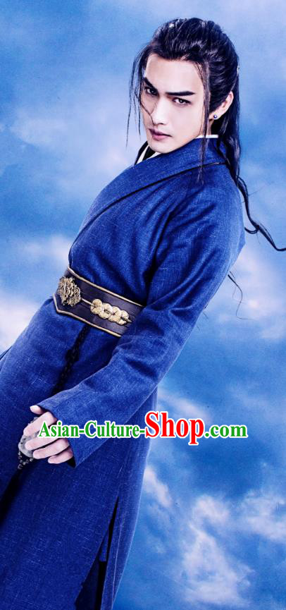 Traditional Chinese Tang Dynasty Swordsman Costume and Headpiece Complete Set, China Ancient Hanfu Clothing Palace Dandies Embroidery Robe