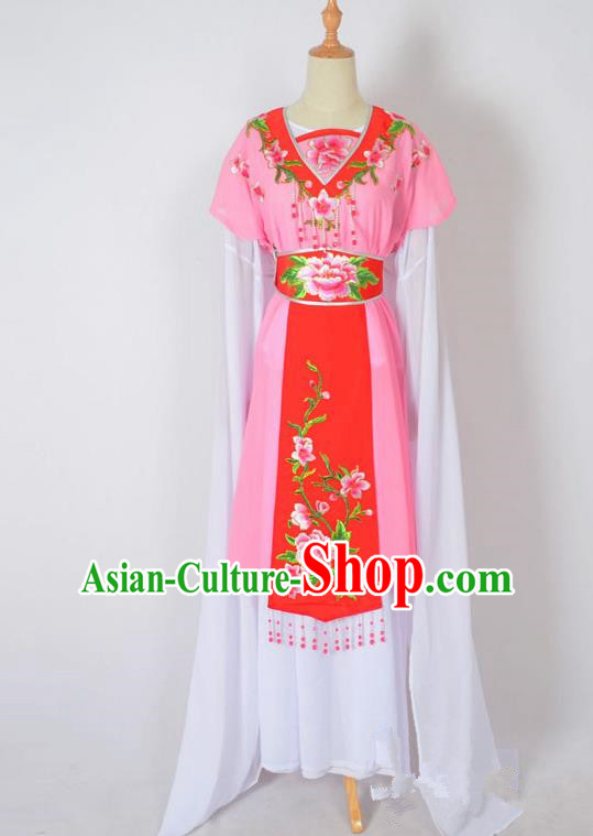 Traditional Chinese Professional Peking Opera Nobility Lady Water Sleeve Costume, China Beijing Opera Shaoxing Opera Royal Princess Embroidery Peony Pink Dress Clothing