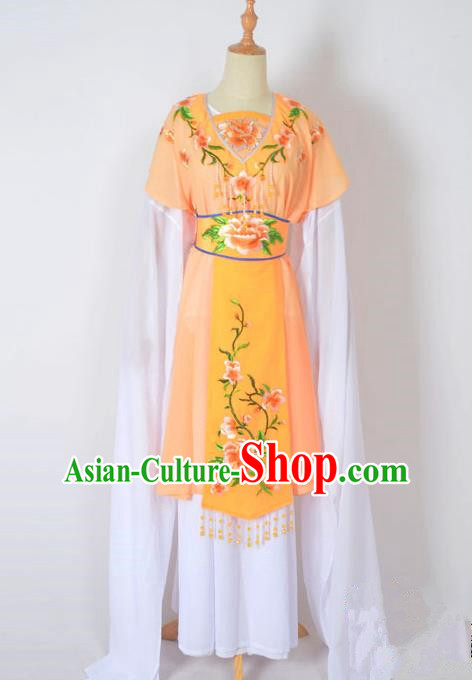 Traditional Chinese Professional Peking Opera Nobility Lady Water Sleeve Costume, China Beijing Opera Shaoxing Opera Royal Princess Embroidery Peony Orange Dress Clothing